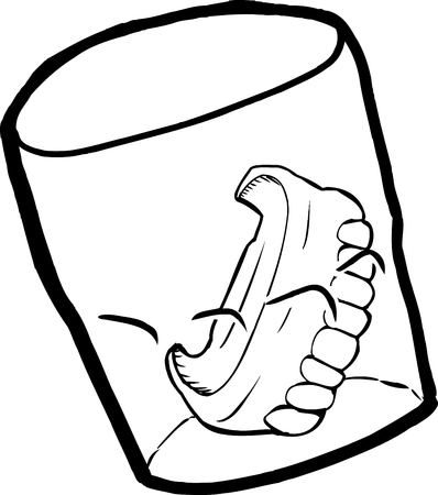 sketch out: Outine cartoon of prosthetic teeth inside drinking glass