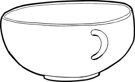Empty single teacup outline illustration over white Ilustrace