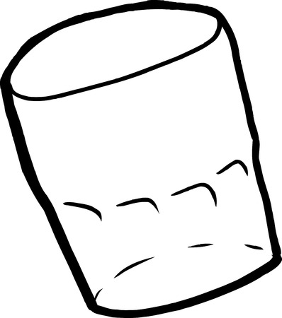 sketch out: Single isolated empty cartoon drinking glass outline