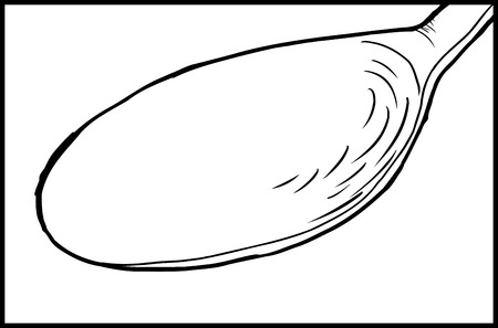 close out: Outline cartoon illustration of spoon close up