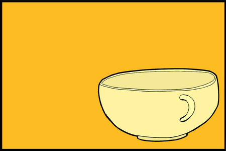 Single illustration of empty teacup over yellow background