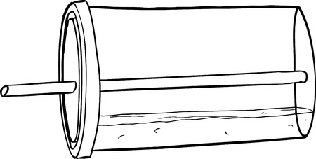 straw: Outlined lid cup with straw and soda tipped over Illustration