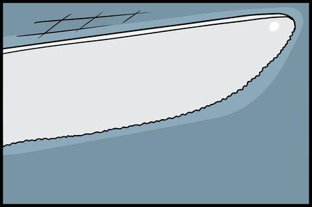 Hand drawn illustration of tip of knife cutting Ilustração