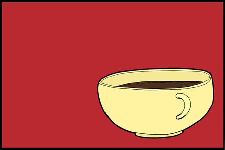 Illustration of full cup of coffee over red background Ilustrace