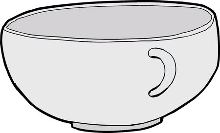 sketch out: Single empty teacup illustration over white background Illustration
