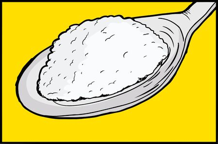 Illustration of single spoon with sugar inside