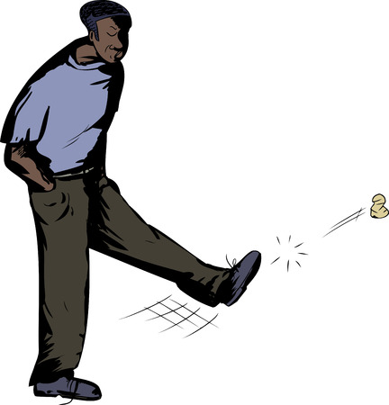 Disappointed African American man kicking wad of paper