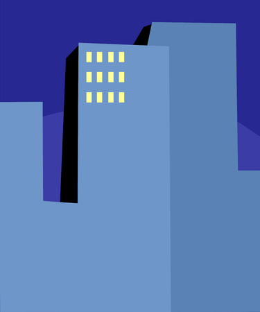 early in the evening: Abstract high-rise office buildings at early morning Illustration