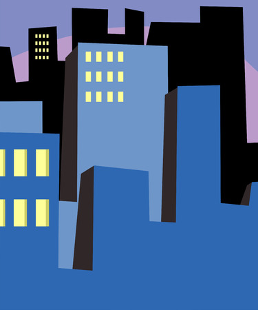 early in the evening: Various abstract urban buildings cityscape background Illustration
