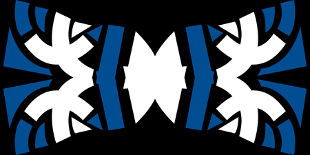 bowtie: Abstract blue and white bowtie shape pattern over black