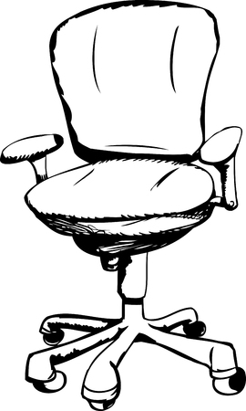 Outlined ergonomic office task chair over white background