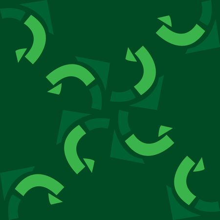 curving: Repeating curving shapes spinning over green background Illustration