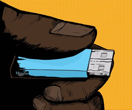 memory stick: Cartoon illustration of hand holding memory stick