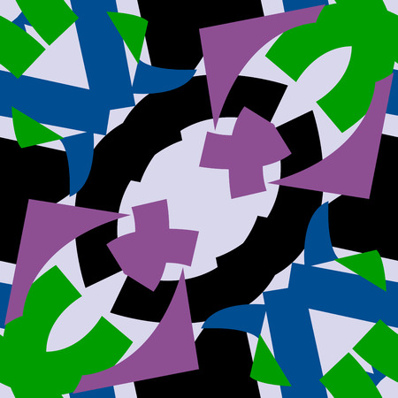 Black purple and green symmetrical triangle patterns