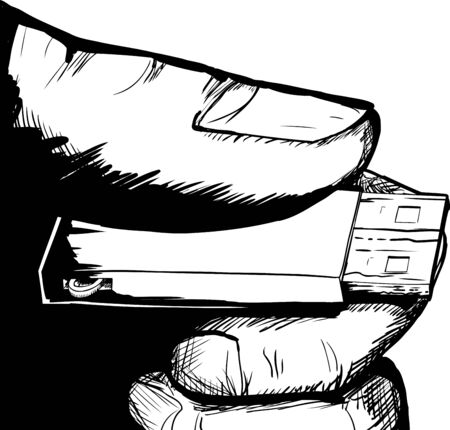 uncovered: Illustration of single USB thumbdrive in hand