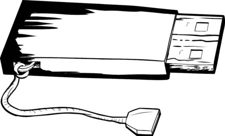 flash drive: Outlined illustration of single USB flash drive with string