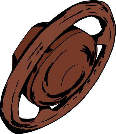 Brown cartoon steering wheel on isolated background