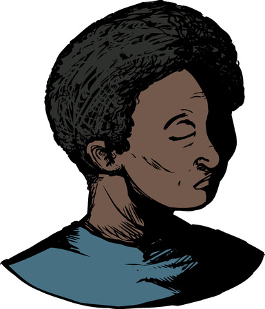 remorse: Isolated illustration of single African male with eyes closed