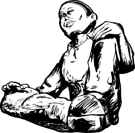Outline illustration of male sitting down from low angle view