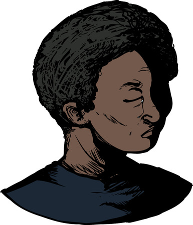 Isolated Black youth with eyes closed and tears Illustration