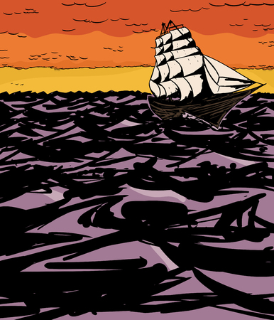 clipper: Illustration of 1800s clipper sailing at sunset