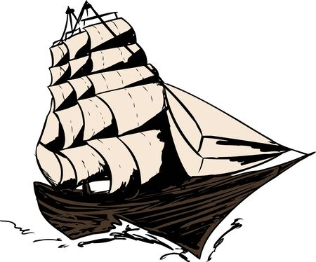 clipper: Single 1800s clipper ship moving on white background Illustration