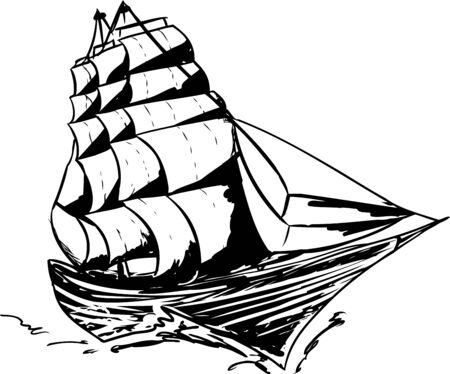 clipper: Outlined 1800s clipper ship moving on white background Illustration