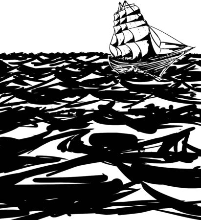 clipper: Outline of 1800s clipper ship on rough ocean