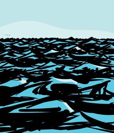 ocean waves: Hand drawn illustration of empty ocean waves background