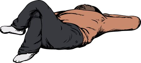 calm down: Cartoon of single male adult laying down on his back Illustration