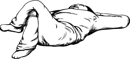 laying down: Outline cartoon of single adult laying down on back