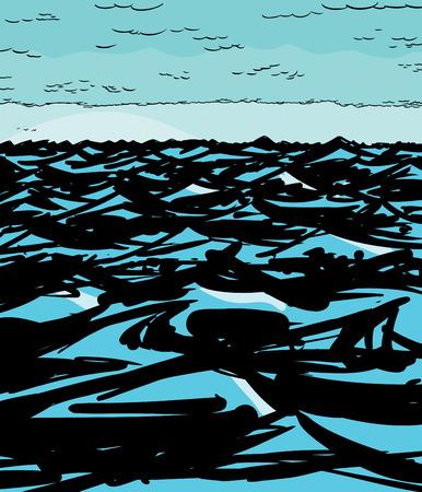 olas de mar: Illustration of empty ocean waves and clouds background Vectores