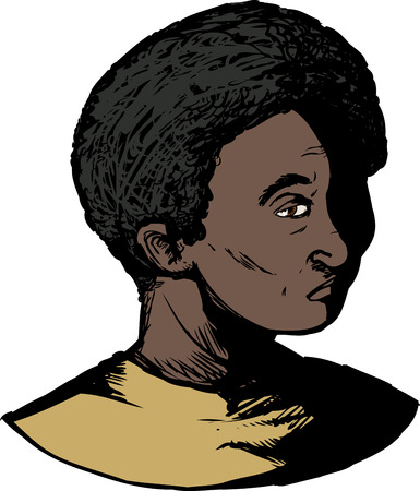 Cartoon of single Black youth with blank stare