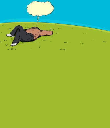 laying down: Single adult male thinking while laying down on grass