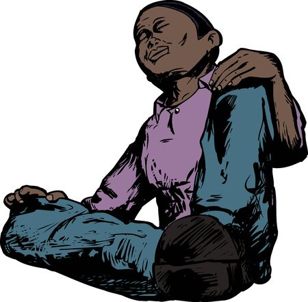 meditating: Low angle view of African male meditating