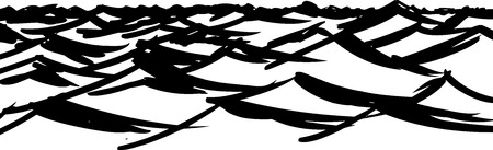 ocean waves: Hand drawn ocean waves black and white background Illustration