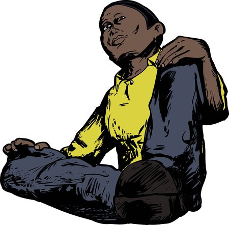 angle: Low angle view of African male sitting down