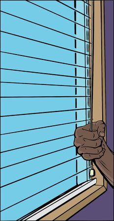 blinds: Illustration of hand pulling cord on open blinds