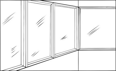 Outline cartoon of room with closed windows Illusztráció