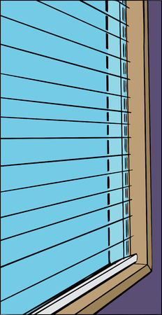 blinds: Cartoon close up of open blinds and window