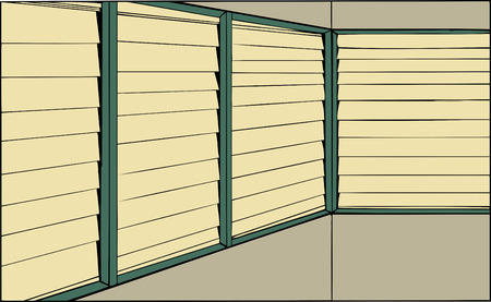blinds: Cartoon of room with windows with closed blinds