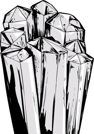 Cartoon illustration of rough quartz crystals cluster