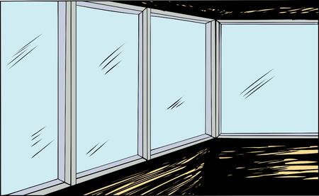 View from inside dark room through glass windows Ilustração
