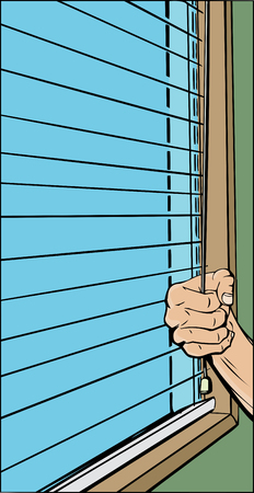 blinds: Cartoon of hand opening blinds over window Illustration