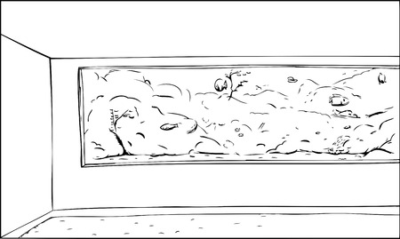 exhibit: Outlined cartoon of aquarium exhibit with fish in tank