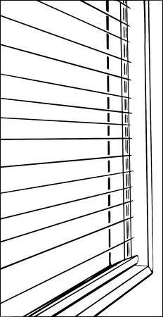 Outline close up of open blinds and window