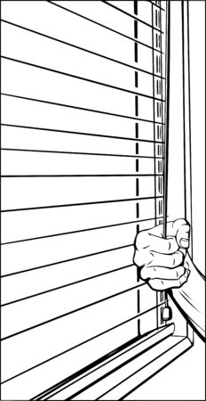window blinds: Outline of hand pulling cord on open blinds