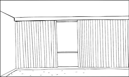 Cartoon outline of room with half open vertical blinds Illustration
