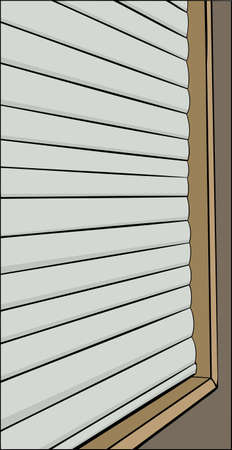 blinds: Illustration of window with closed blinds in outline Illustration