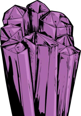 Illustration of rough purple amethyst quartz crystals Çizim